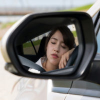 lady sleeping while driving