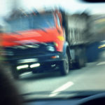 tractor-trailer about to get into a crash