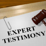Expert testimony case form with gavel on top