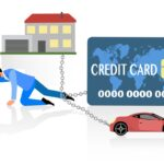 Flat style of man chained to debts payment
