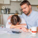 Desperate wife and husband with big debts
